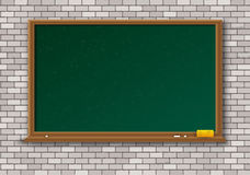 Empty green chalkboard with wooden frame Royalty Free Stock Images
