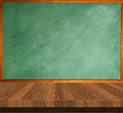 Empty green chalkboard wooden table. Education concept Royalty Free Stock Image