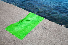 Empty green cotton towel Stock Images