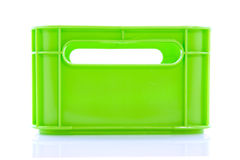 Empty green crate. Empty green plastic fluor crate isolated over white Royalty Free Stock Photos