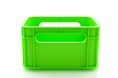 Empty green crate. Empty green plastic fluor crate isolated over white Royalty Free Stock Images