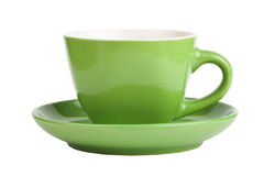 Empty green cup isolated on white Stock Image