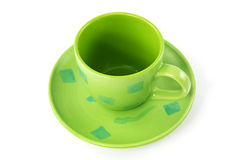 Empty green cup with plate Stock Images
