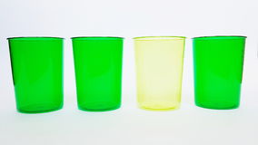Empty green cups. Cups with different green color Stock Image