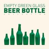 Empty green glass beer bottles Stock Photos