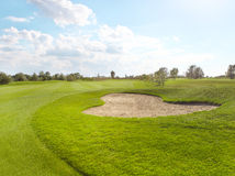 Empty green golf course Royalty Free Stock Image