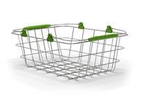 Empty green metal basket Royalty Free Stock Photos