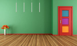 Empty green modern interior with door Stock Photos