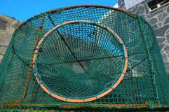 Empty Green Net Fish Traps Stock Photography