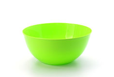 Empty green plastic bowl isolated on white background Royalty Free Stock Image