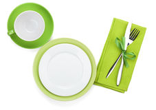 Empty green plates, coffee cup and silverware Stock Image