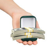 Empty green ring box with cash in womans hand Stock Photo