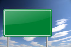 Empty green road sign Stock Photography