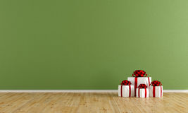Empty green room with gift Royalty Free Stock Photos