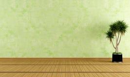 Empty green room. With venetian plaster - rendering Stock Photos