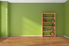 Empty green room wooden bookshelf interior Stock Image