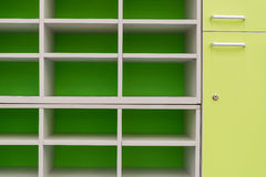 Empty Green shelf. Concept for background or article and content Royalty Free Stock Image