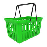 Empty Green Shopping Basket isolated on white Royalty Free Stock Images