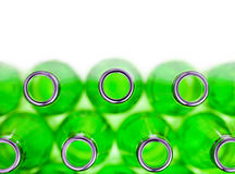 Empty green soda bottles , isolated Stock Photo