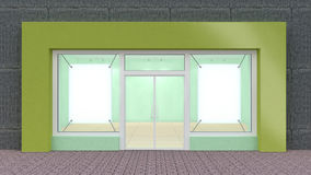 Empty green Store Front with Big Windows Stock Photo