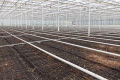 Empty greenhouse with soil prepared for cultivation of plants royalty free stock photo