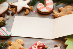 Empty greeting card in gingerbread cookies frame Royalty Free Stock Image