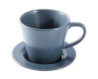 Empty grey coffee cup and saucer on a white background. Royalty Free Stock Photo