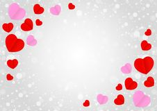 Empty grey frame and red pink heart shape for template banner valentines card grey background, many hearts shape on grey royalty free illustration