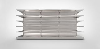 Empty grey gray metal silver chrome retail store shelves on a plain background. Shop Royalty Free Stock Photography