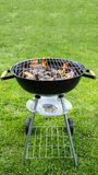 Empty grill with fire on garden Stock Images