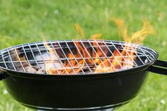 Empty grill with fire on garden Stock Image