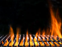 Empty grill grid with fire Stock Photography