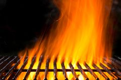 Empty grill grid with fire Royalty Free Stock Images