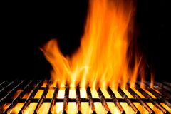 Empty grill grid with fire flames on black Royalty Free Stock Photography