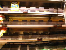 Empty grocery store during hurricane Irene royalty free stock image