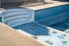 Replacing and repairing old vinyl liner of swimming pool royalty free stock photo