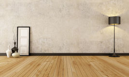 Empty grunge interior. Empty room with hardwood floor and old wall - rendering Royalty Free Stock Photos