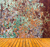 Empty grunge metal wall with wooden floor Royalty Free Stock Image