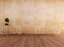Empty grunge room. With old wall and hardwood - rendering Royalty Free Stock Images
