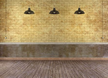 Empty grunge room with brick wall Stock Images