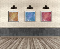 Empty grunge room with dirty concrete brick wall Royalty Free Stock Photos