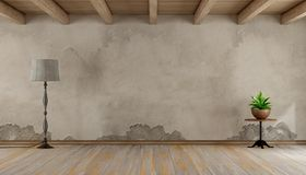 Empty grunge room. With old wall hardwood floor and wooden ceiling - 3d rendering Stock Images