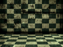 Empty grunge room tiled. Old grunge room with tiled floor and wall Royalty Free Stock Images