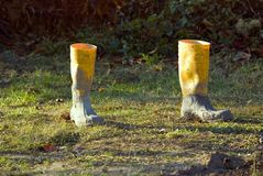 Empty gumboots Stock Images