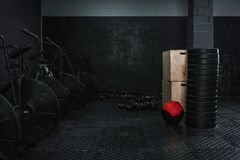 Empty gym with crossfit equipment royalty free stock photography