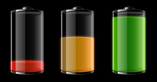 Empty, half-full and full battery. In three different colors Royalty Free Stock Images