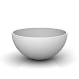 Empty half of a hollow sphere or white bowl. On white background with reflection. 3D rendering Royalty Free Stock Photography