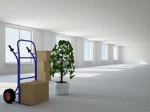 Empty hall with boxes and pushcart Royalty Free Stock Photo