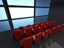 Empty hall of cinema. 3D interior Royalty Free Stock Image