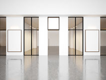 Empty hall of contemporary gallery with blank. Frames. Horizontal Stock Images